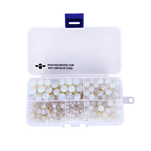 BRCbeads Synthetic White Opal Gemstone Loose Beads Round Value Box Set 340pcs Per Box for Jewelry Making (Plastic Container is Included)-4,6,8,10mm - Opal Bead Sets