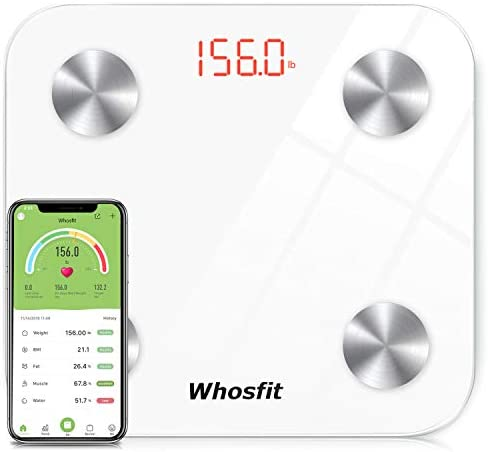 Bluetooth Smart Body Fat Scale, Whosfit Digital Weight BMI Bathroom Scale, Body Composition Monitor Analyzer Scale, Accurate Health Monitor, with Smartphone App-400 lbs-White