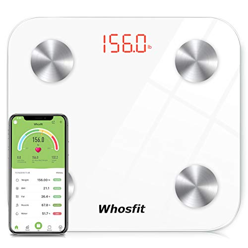 Bluetooth Smart Body Fat Scale, Whosfit Digital Bathroom Weight BMI Scale Body Composition Monitor Analyzer Scale, Accurate Health Monitor, with Smartphone App-400 lbs-White