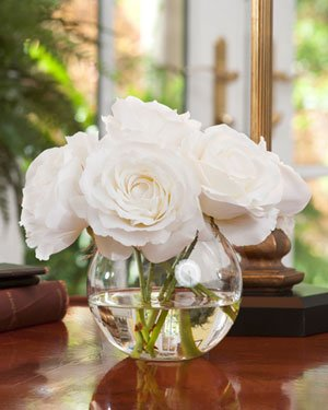 Petals Silkflowers Silk Rose Nosegay - White