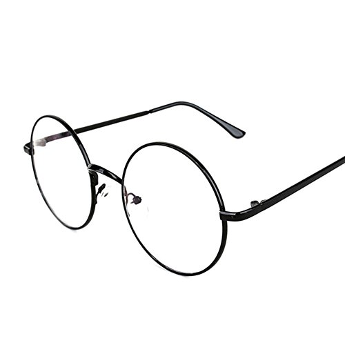 Lovef Large Oversized Metal Frame Clear Lens Round Circle Vintage Eye Glasses 542inch Black