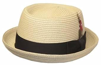 Sakkas 22EH Feather Ribbon 100% Paper Straw Pork Pie Hat - Natural - S/M