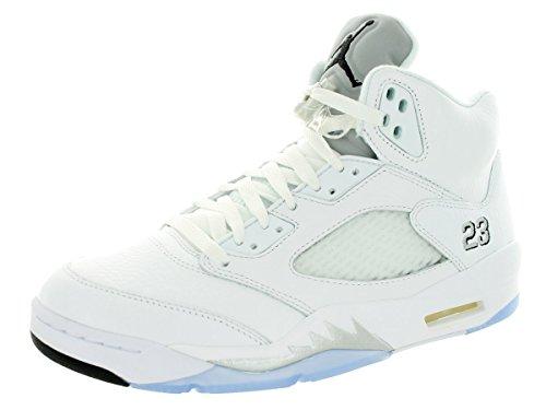Nike Mens Air Jordan 5 Retrò Scarpe Da Ginnastica Bianco / Nero / Argento ( bianco
