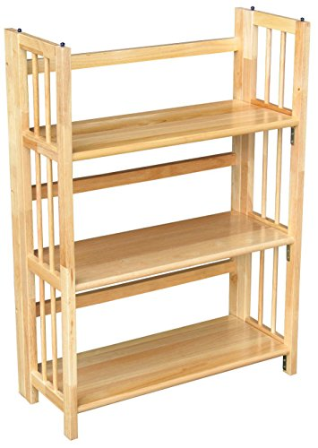 Yellow Natural Wood (Casual Home 3-Shelf Folding Stackable Bookcase (27.5