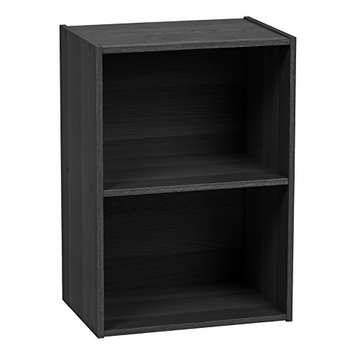 IRIS 2-Tier Wood Storage Shelf, Black (2 Shelf Bookcase)
