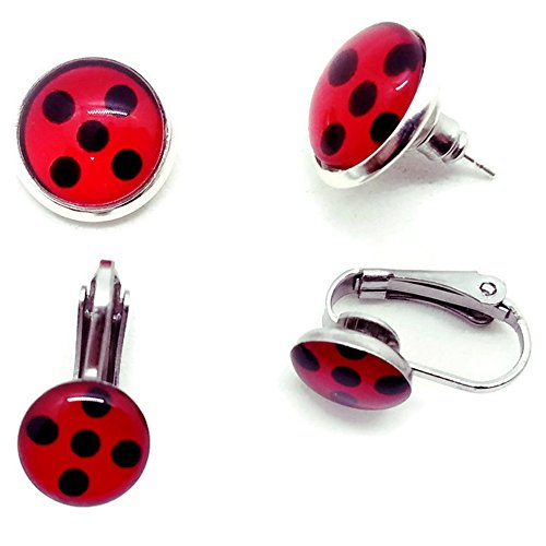 Miraculous Ladybug Earrings Lady Bug Charm Stud Stainless Steel Chat Noir Cosplay Costume Rena Rouge Volpina (Clip On) -
