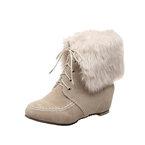 AllhqFashion Women's Lace Up Low Heels Imitated Suede Solid Low Top Boots, Beige, - Nc In Shopping Greensboro