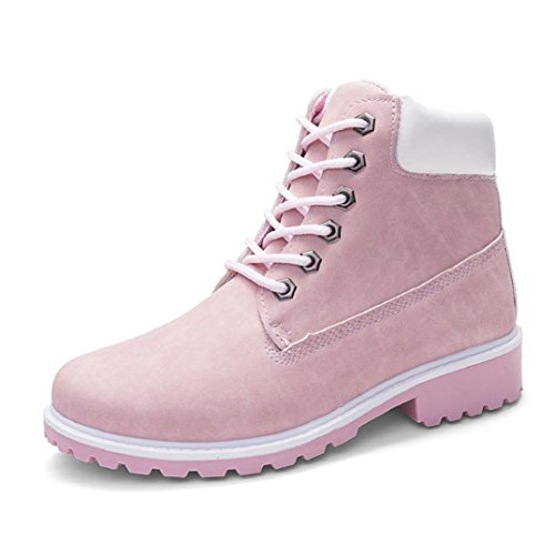Lace Boots Casual Heels 5 Non Low Ankle Shoes Women 7 Martin White Boots Slip Fheaven Pink Ladies up Winter Faux ZInxT8