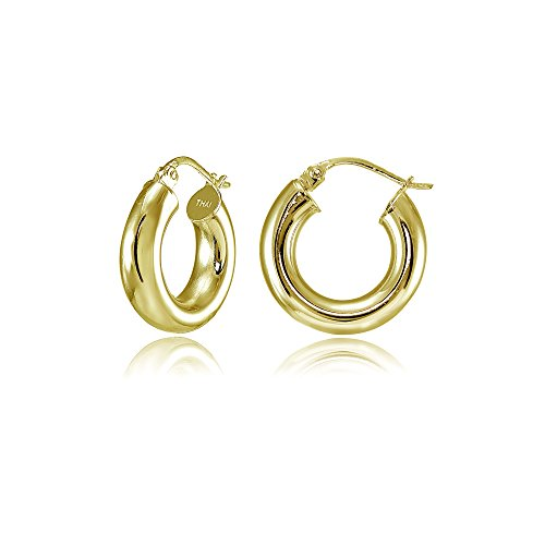- Hoops & Loops Flash Plated Gold Sterling Silver 4mm Polished Round Hoop Earrings, 15mm