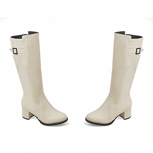 Mee Shoes Womens Fashion Mid-heel Long Western Boots Off-White ckU2z2YPtO