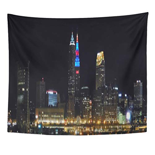 Semtomn Tapestry Artwork Wall Hanging Lights Cleveland Ohio Night Skyline Red City 60x80 Inches Home Decor Tapestries Mattress Tablecloth Curtain Print for $<!--$23.90-->
