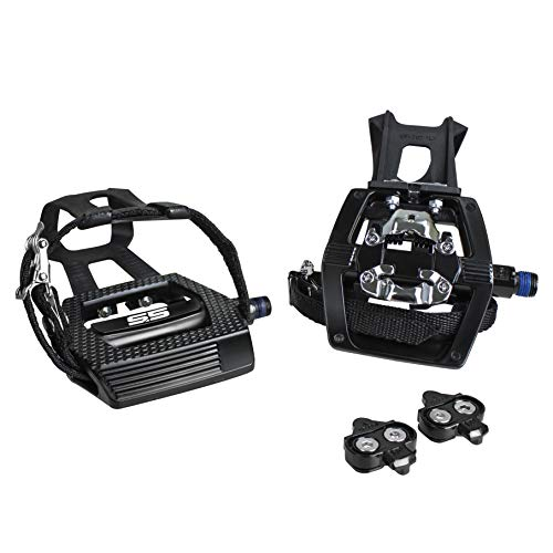 "BV Bike Shimano SPD Compatible 9/16"" Pedals with Toe Clips (SPD Cleats Included) – Indoor/Exercise/Peleton Bicycle Pedals"