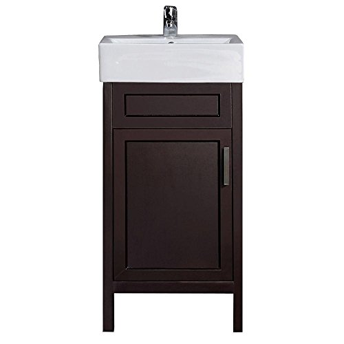 Arvesen 18 in. W x 12 in. D Vanity in Tobacco with Vitreous China Vanity Top in White and Basin