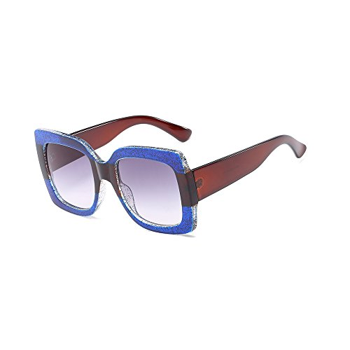 Lan Retail Box - BVAGSS Oversized Square Sunglasses Women Multi Tinted Frame Fashion Modern Shades WS066 (Blue Brown)