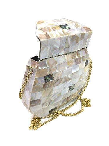 Crossbody vrouwengift Bridal Bag Unieke parelmoer Ethnic Honda Vintage Parelmoer Clutch Metal Gannu gemaakt door p58ZxOnZ4