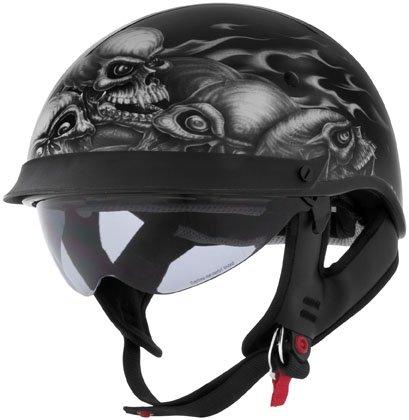 U-72 Internal Shield Cyber - Cyber Skull Pile with Internal Shield U-72 Cruiser Motorcycle Helmet - Large