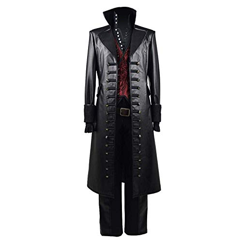 Mens Hot TV Series Red Vest PU Pleather Pirate Costume Halloween Captain Cosplay Outfits (Man-XS)