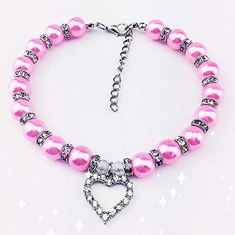 WEATLY Collar de Perlas de Gatos Collar del Animal doméstico del ...