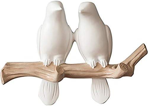 Birds On Branch Hanger Hooks Decorative Resin Wall Hook Coats Hats FE