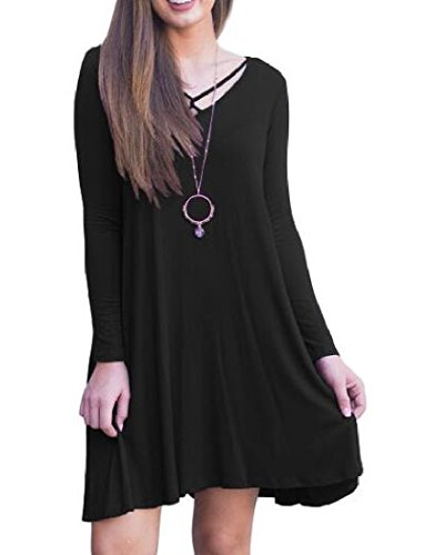 Coolred-femmes V Cou Longueur Mi Solides De Couleur Robes Baggy Pull-over Noir