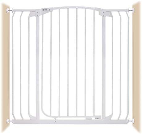 Bindaboo Hallway Pet Gate, Swing Closed, White, Extra-Tall