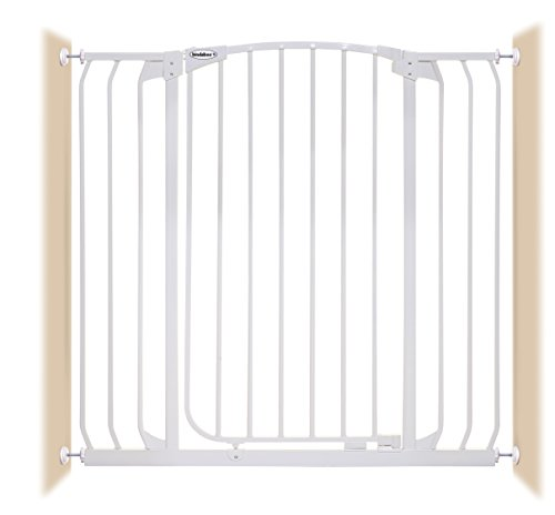 Bindaboo Hallway Pet Gate, Swing Closed, White, Extra-Tall