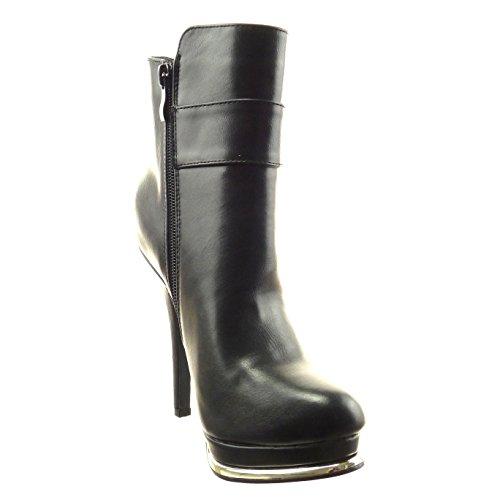 Sopily - Chaussure Mode Bottine Plateforme Cheville femmes boucle Métallique Fermeture Zip Talon haut bloc 12.5 CM - Intérieur fourrure synthétique - fourrée - Noir