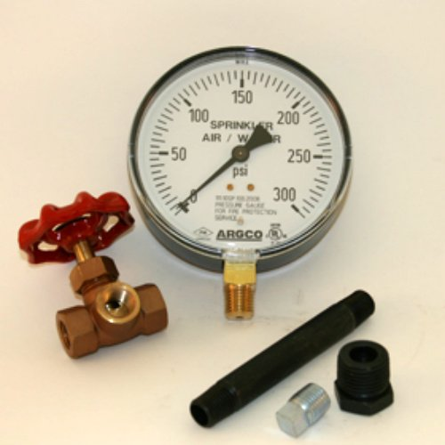 Plastic 300# Air/Water Gauge 1/4'' Boxed with valve, nipple, plug and bushing USA MADE