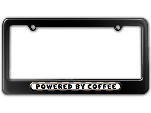 Graphics and More Powered By Coffee License Plate Tag Frame - Color Gloss Black (Gloss Coffee)