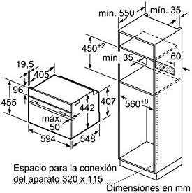 Balay 3CB5351A0 - Horno (Medio, Horno eléctrico, 47 L, 2800 W, 47 ...
