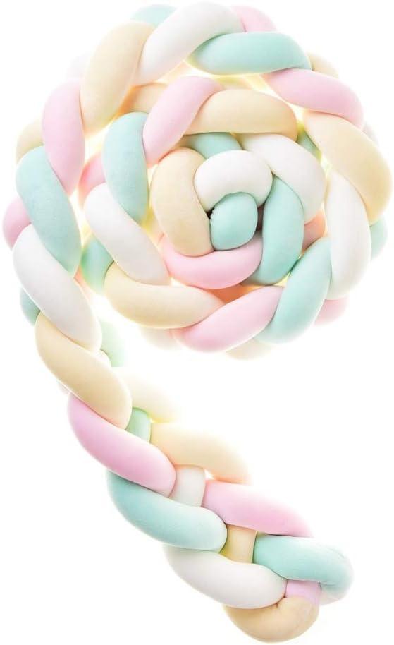 Jaune Rose Icegrey Tour De Lit 4 Tissage B/éb/é Coussin Serpent Tress/é Pare-Choc Velours Protection lit Bumper P/épini/ère pour Les Nouveau-N/és Lit Chambre D/écor avec Sac /à Linge Vert Blanc 3.5m