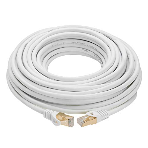 50FT S/FTP CAT 7 Gold Plated Shielded Ethernet RJ45 Copper Cable 10 Gigabit Ethernet Network Patch Cord Cat7 (50ft, White)