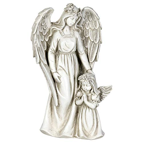 Exhart Angel Garden Statue with Little Girl - Light Up Resin Angel Figurines Feature Battery-Powered LED Lights Timer - Angel Resin Statues, Memorial Decoration 8