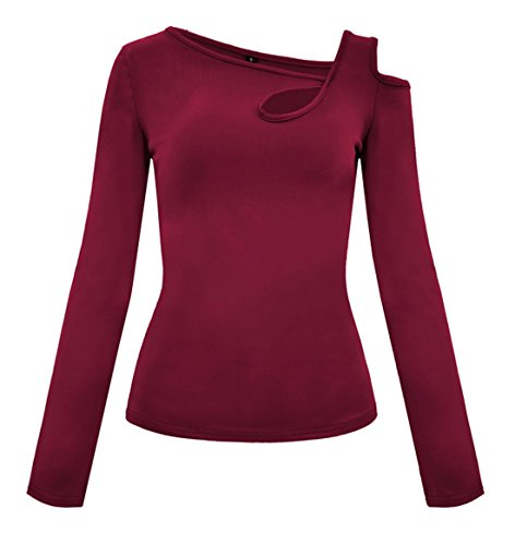 Manches Shirts Tee Longues et Chic Slim Automne Oblique Femmes T Printemps Tops Jumpers Fashion Rouge paule Vin Blouse Hauts Shirts Chemisiers Legendaryman xn4ZqC0Ha