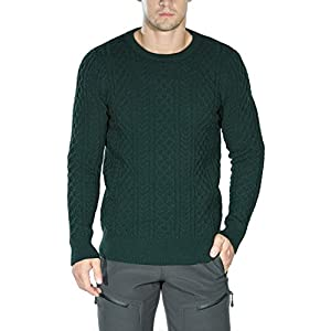 Rocorose Men's Cable Knit Long Sleeves Crewneck Sweater