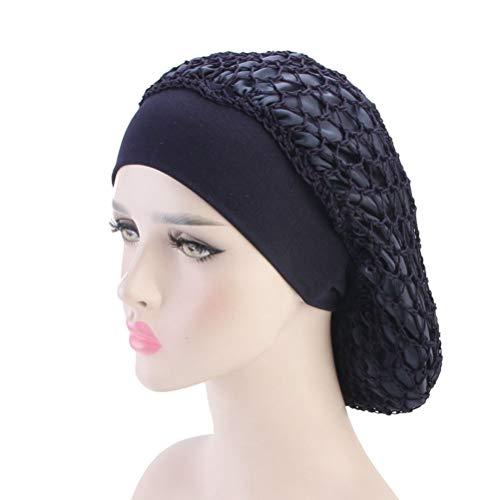 Lurrose Doble capa de red de pelo de ganchillo redecilla elastica de punto de ala ancha tapa de la noche Sleepet Bonnet Head Cover para mujer pelo grueso (Negro)