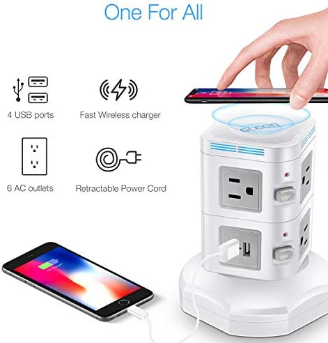 Power Strip Tower  GLCON Multi Outlets Surge Protector Wireless Charging Station with 4 USB