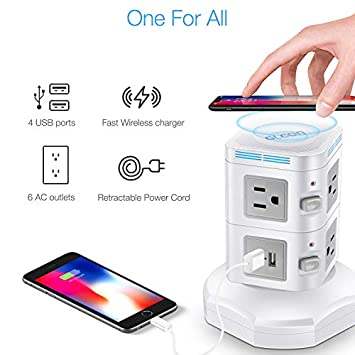 Power Strip Tower Wireless Charger – GLCON Surge Protector Electric Charging Station 3000W 13A 6 Outlet Plugs 4 USB Ports 6ft Extension Cord Universal Socket PC Laptops Phone