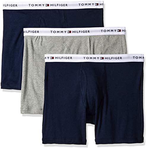 (Tommy Hilfiger Men's 3-Pack Cotton Boxer Brief,Dark Navy,X-Large(40-42))