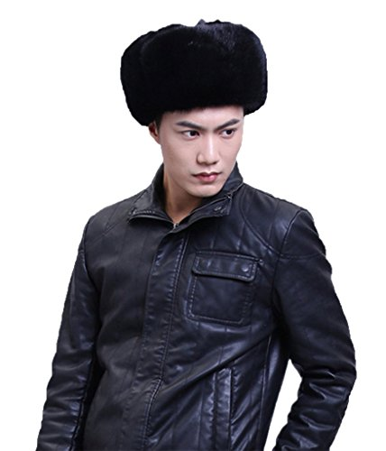 YR Lover Men's Mink Fur Trapper Hats Caps Outdoor Warm Earmuffs Beret Hat