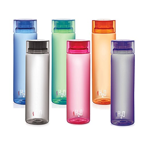 Cello Unique WATER BOTTLE H2O Unbreakable Bottle, 1 Litre, Set of 6, MULTIColour. - Love Trek Water Bottle