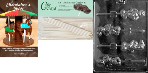 Cybrtrayd 'Soccer Girl/Boy Lolly' Sports Chocolate Candy Mold with 50 4.5-Inch Lollipop Sticks and Chocolatier's Guide by CybrTrayd