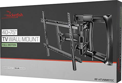 Rocketfish - Full-Motion TV Wall Mount for Most 40 - 75 TVs (RF-HTVMM170C) Black - New, Non-Retail Packaging