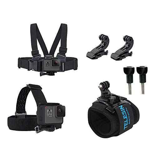 TELESIN Travel Starter Kit Chest Strap Mount Harness + Head Strap Band + 360 Wrist Strap Controller J Hook Accessories Bundle for GoPro Hero 7 Hero 2018 Hero 6 Hero 5 Black Hero 4/3+ Hero Session 4/5