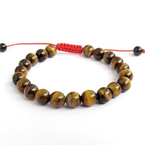 OVALBUY 8mm Tiger Eye Beads Tibetan Buddhist Wrist Mala Bracelet for Meditation