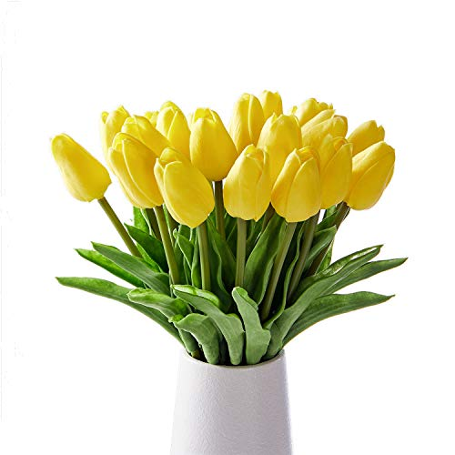 - Artificial Tulips 20 Pcs Real Touch Latex Fake Flowers for Wedding Bouquet Home Party Office Decor (Yellow)