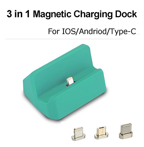 Iphone Docking Cradle (Magnetic Charger Dock Charging Station, 3 in 1 Micro USB & Lightning & Type-C, Auswaur Charger Docking Station Cradle Charging for iPhone X 8 7 6 6s Plus Samsung Galaxy S6 S7 S8 Plus (Green))