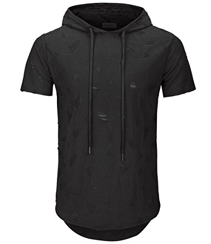 KLIEGOU Men's Hipster Hip Hop Hoodie Hole Tshirt 1705-2 (Small, - Black Fashion Hipster