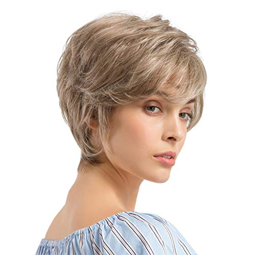 Brown Short Wavy Human Hair None Lace Front Wig Natural Loose Wave Bob Wigs Heat Resistant Fiber Synthetic Women (a)