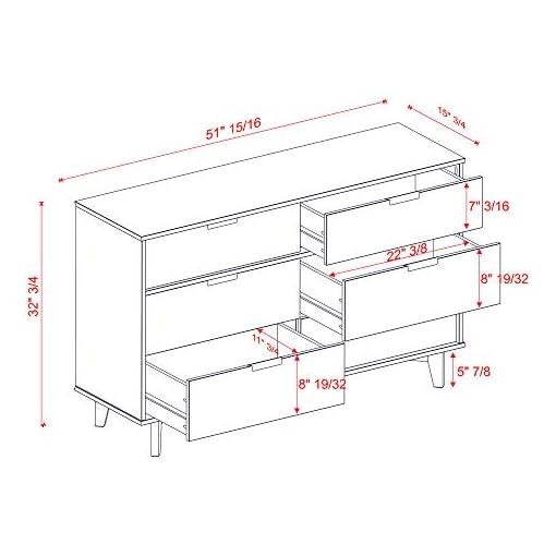 Bedroom 6 Drawer Mid Century Modern Wood Dresser – Caramel